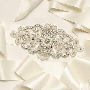 NWT DAVID'S BRIDAL Crystal & Pearl Sash - Ivory